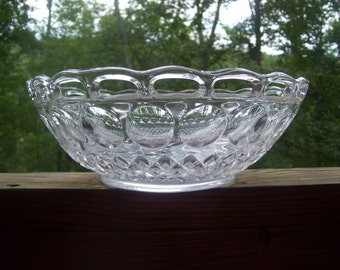 Antique Pressed Glass Bowl, Open Lace Edge