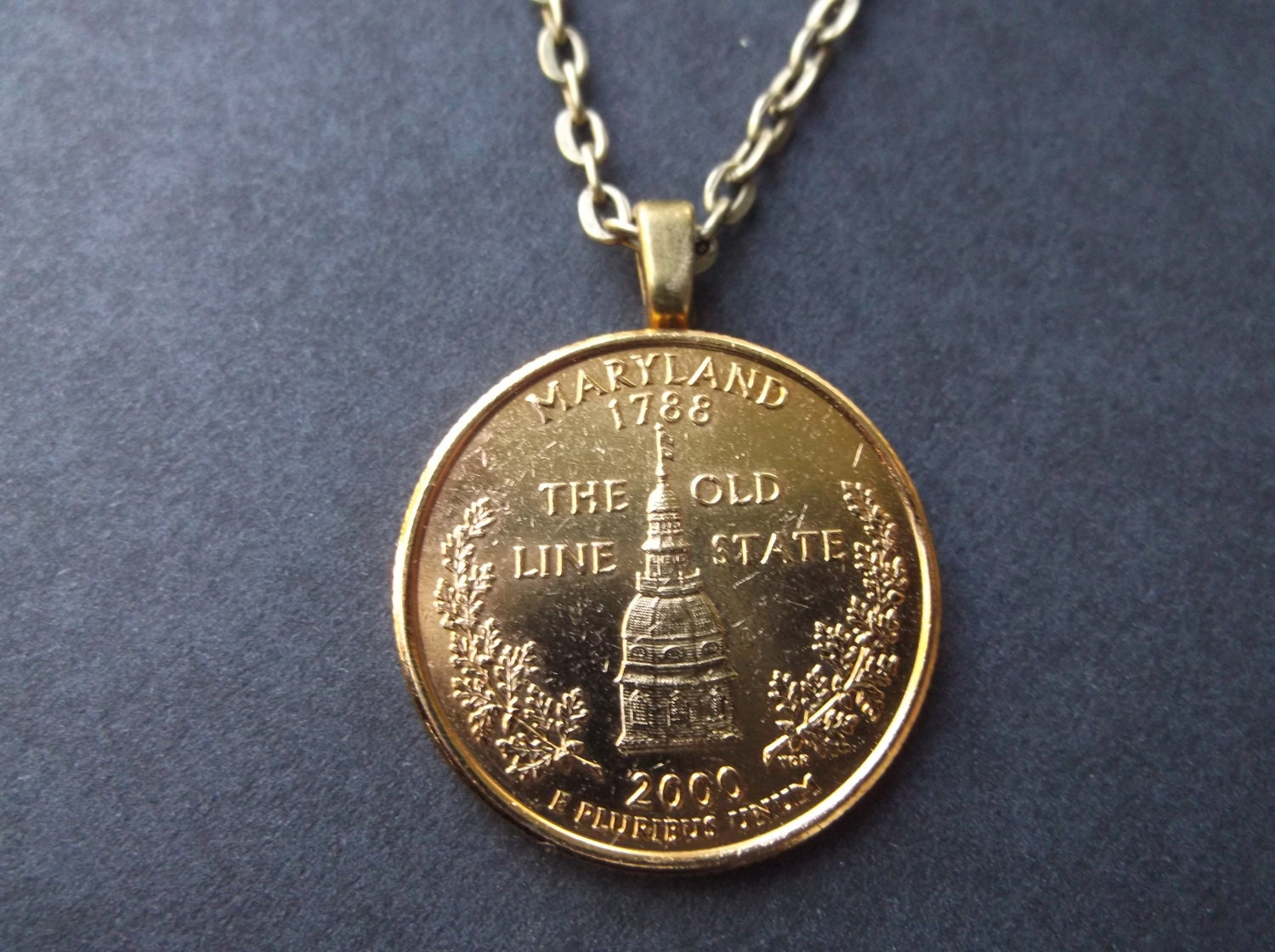 Maryland United States Gold Colored Quarter Coin Necklace