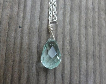 Light Green Glass Faceted Tear Drop Necklace - Green Glass Briolette Necklace Necklace