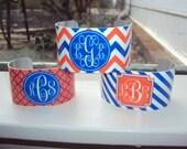 Monogrammed Cuff Bracelet Personalized Orange and Blue Jewelry SWAMP CHOMP