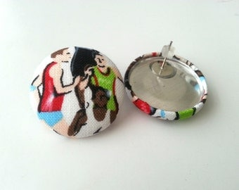 Marathon runners fabric button earrings