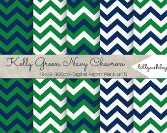 Kelly Navy Chevron Digital Paper Pack of 5--12x12 JPG Downloadable Papers Chevron Pattern in Kelly Green/Navy /White for Scrapbook Web Etc