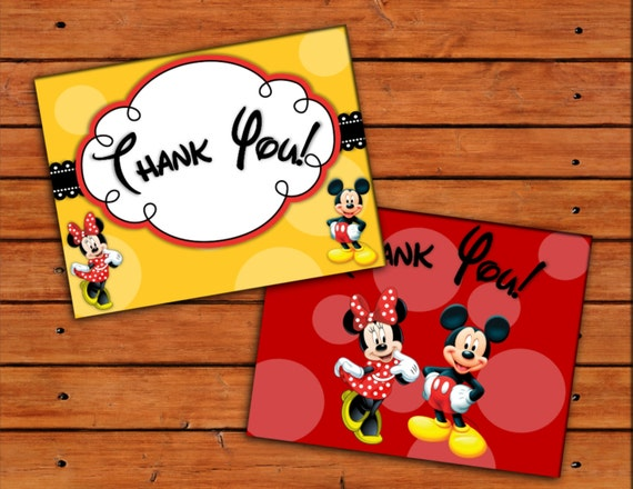 minnie and mickey mouse thank you cards printable digital