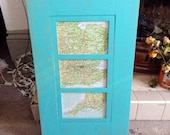 Shabby Chic Turquoise Framed Maps -Painted , Distressed ,Upcycled