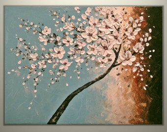 """Original Impasto Acrylic Modern Abstract Art  Painting on  Gallery wrapped Canvas 24"""" x 18"""", Home Decor, -White  Blossoms- by Tomoko Koyama"""