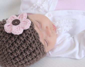 Interchangeable Flower Hat, Baby Crochet Hat, COLOR of your CHOICE, Baby/Toddler Girl - 12 Months and Up