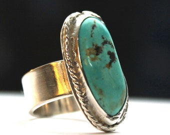 Cabochon Ring Old Stock Turquoise Size 7 1/4