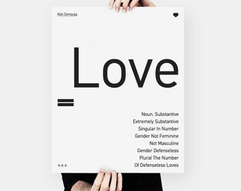 Valentine's gift, Kiki Dimoula, typography poster, 40cm x 50cm, black and white, greek poetry, paper goods, minimal print, love poster