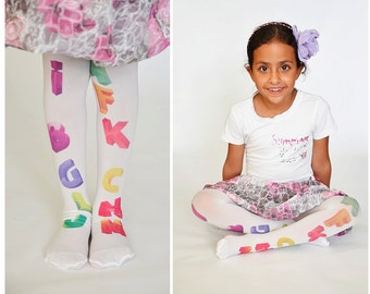 Girls Tights  , Kids Stockings , Hand Printed Tights