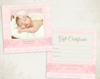 Photography Gift Certificate photoshop template 011- ID0132, Instant Download