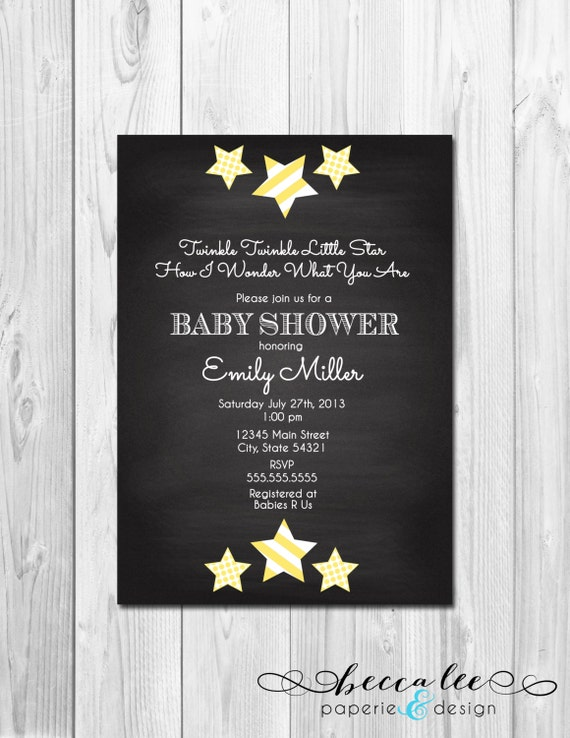to twinkle twinkle little star chalkboard baby shower invitation