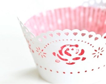 20 Roses Hearts Flower Laser Cut Cupcake Wrappers Wraps - 15 Colors Avaiable