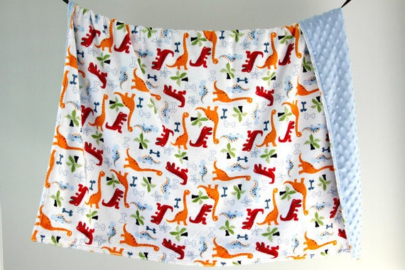 Large Baby/Toddler Blanket, Minky Dinosaurs with Baby Blue Minky Dot, Ready to Ship