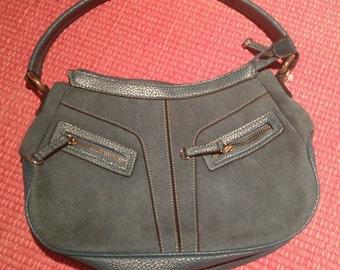 Vintage Faux Suede Handbag 80s 90s