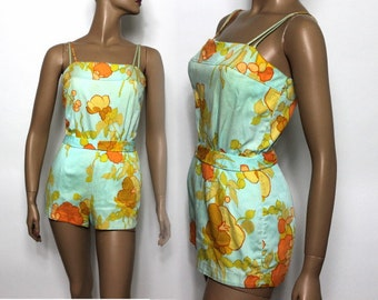 Vintage 1950s Swimsuit Swimwear Bathing Suit Designer Pinup Bombshell Retro Garden Pool Party