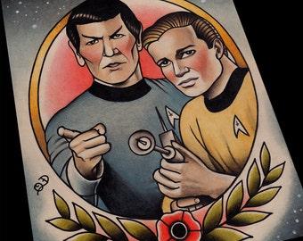 Captain Kirk and Spock Star Trek Tattoo Flash Art Print