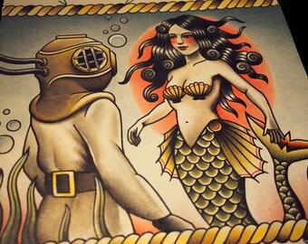Love At First Dive Tattoo Art Print