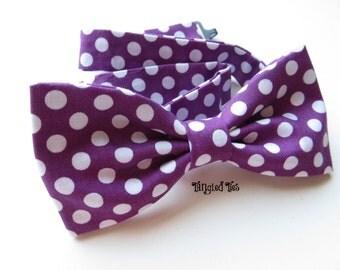 Men's Purple Polka Dot Bow Tie, Grape Dot Bow Tie, Purple Pretied Bow Tie, Purple Freestyle Bow Tie