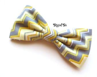 Bow Tie - Yellow/Grey Chevron Coordinating Wedding Bow Tie, Yellow/Gray Bow Tie Zig Zag