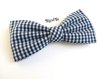 Navy Gingham Bow Tie For Men/teen; Boys Bowtie; Women's Bow Tie; Toddler Bow Tie;Navy Checkered Bow Tie
