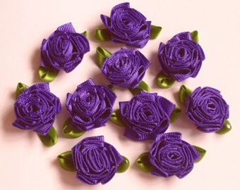 10 Handmade Flowers (1 inch with leaf size is 1-1/4 inch) In Regal Purple MY-137-89 Ready To Ship