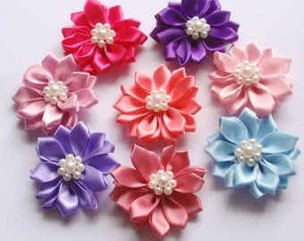 8 Handmade Flowers With Pearls In Multicolor (1.5 inches) MY-135 -05 Ready To Ship