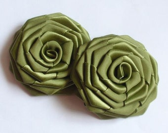 2 Handmade Ribbon Roses (2.5 inches) in Willow MY-141-138 Ready To Ship