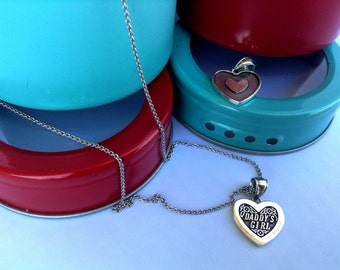 Daddy's Girl Necklace in Sterling Silver, Heart Jewelry