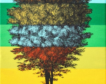 Color block tree painting