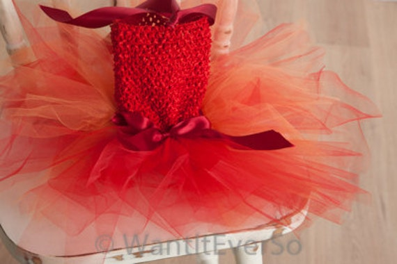 TUTU DRESS SALE!!! Baby Tutu Dress 6 - 12 Months Fire Fairy, Little Devil, Red and Orange -  perfect photo prop