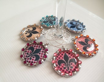 Retro Fleur De Lis Wine Glass Charms