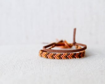 Friendship Bracelet Chevron Peach Brown and Mustard Woven Bracelet