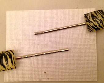 Zebra Print Gem Bobbie Pins, Set of 2
