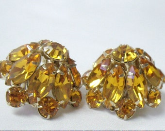 Vintage Golden Amber Rhinestone Domed Clip Earrings