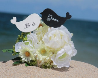 Lovebirds Cake Topper Bride and Groom  - Cupcake Topper - Personalized Wedding - Beach wedding