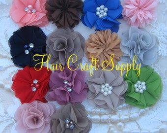 Boutique Pack - 14 Colors - Chiffon Flower Heads for Headbands and Clips with sewn in centers no glue handmade