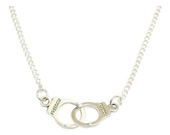 Silver Plated Handcuff Necklace Available in 16, 18 & 20 inch chain