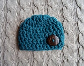 Crochet Baby Hat, Chunky Crochet Knit Teal Turquoise Blue Newborn Baby Boy Hat with a Cute Button, ready to ship