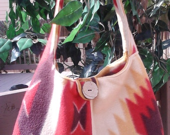 Fleece bag/purse, in Native American print