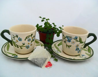 Pair of Franciscan Earthenware Forget Me Not Teacups and Saucers