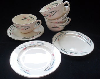7 Pieces Vintage Pink and Aqua China Cups and Plates