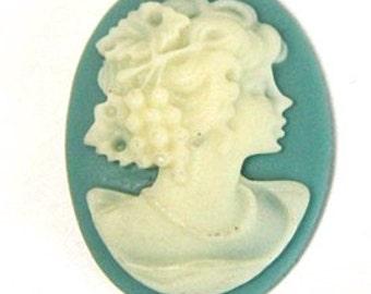 6 pcs of resin elegant lady cameo-RC0165 6- blue