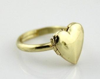 2pcs  brass heart  locket ring -18k gold