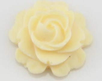12 pcs  of resin flat rose cabochon-16mm-0470-26-ivory