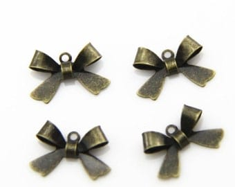 24  pcs of   brass bow charm  15x12mm  1106-antique bronze