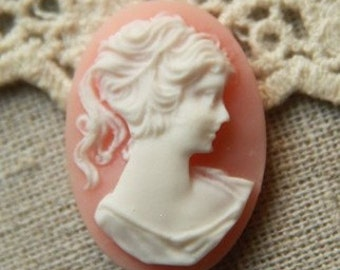 12 pcs of resin vintage cameo 18x25mm -0486-pink