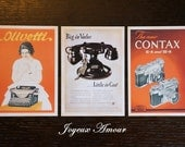 Set of 3 Postcards / Olivetti Bell Telephone Contax Camera / Joyeux Amour