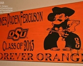 Oklahoma State University Wall Art, OSU Cowboys, Distressed Wood Signs, Wood Signage, OSU alumni gifts, Forever Orange - Officially Licensed