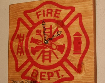 Firefighter Clock, Unique Wall Clock, Hand Painted Wall Clock, Wood Clock, Firefighter - Maltese