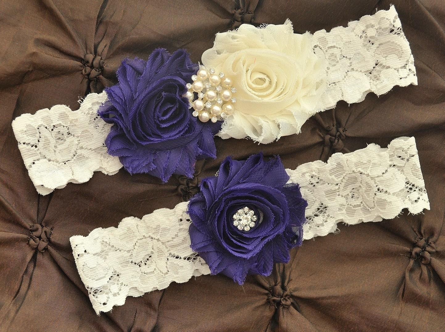Purple Wedding Garter Bridal Garter Set Ivory Lace Garter